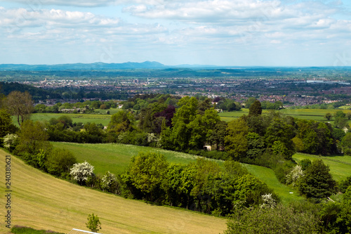 Fototapeta Extensive views over the City of Gloucester in the Severn Vale with the Malvern Hills in the distance