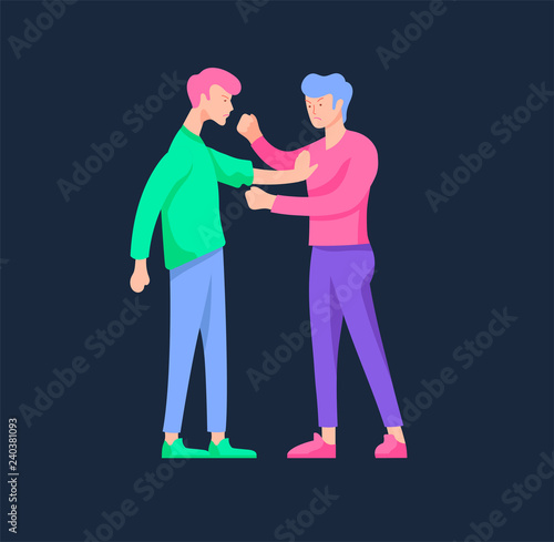Fototapety, obrazy: Vector people in bad emotions, character in conflict, angry or tired and in stress. Aggressive people yell at each other. Colorful flat concept illustration.