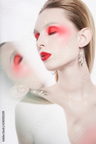 Keuken foto achterwand womenART Sexy nude lady with colorful lipstick and artistic makeup
