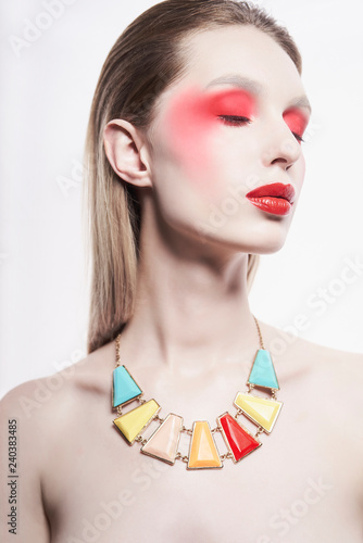 Tuinposter womenART Sexy nude lady in colorful neacklace and artistic makeup
