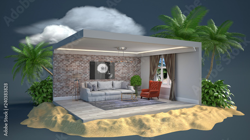 Papiers peints Jardin Interior of the living room in a box. 3D illustration