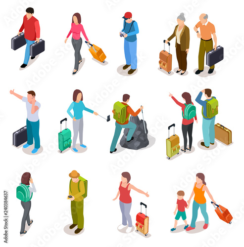 Fototapeta Travel people isometric set. Men, women and kids with luggage. Tourist family, passengers and baggage. Tourism vector collection. Illustration of people travel adventure, walking and hiking isometry obraz
