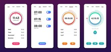 Clock User Interface. Alarm Stopwatch Timer Ui Mobile Phone. Time App Vector Design. Illustration Of Clock And Timer, Alarm And Stopwatch