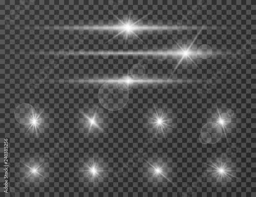 Obraz Light flare. Optical lens glowing flashlight effect. Gleaming camera flash. Realistic sparkles vector set. Star flash and shine bright illustration - fototapety do salonu