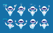 Chatbot Character. Cute Robot Online Chat Robot In Different Poses. Chatterbot Vector Isolated Set. Virtual Robot And Chatterbot, Chatbot Online Service Illustration