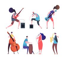 Music Band. Cartoon Musicians,...