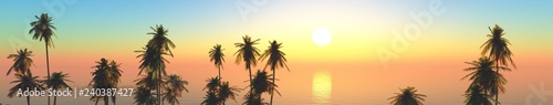 Foto auf AluDibond Gelb Schwefelsäure Beautiful tropical island at sunset, panorama of sea landscape with palm trees, 3d rendering