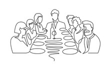 Birthday Party Continuous One Line Vector Drawing