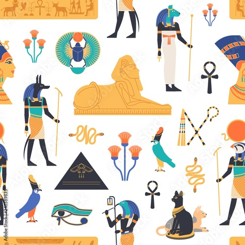 Seamless pattern with gods, deities and mythological