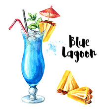 Cocktail Party. Blue Lagoon Cocktail With Decor Elements. Watercolor Hand Drawn Illustration Isolated On White Background