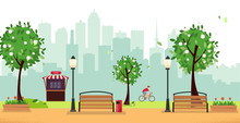 Spring Park. Public Park In The City With Street Cafe Against High-rise Buildings Silhouette. Landscape With Cyclist, Blooming Trees, Lanterns, Wood Benches. Flat Cartoon Vector Illustration