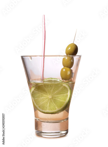 Glass cup with martini on white background