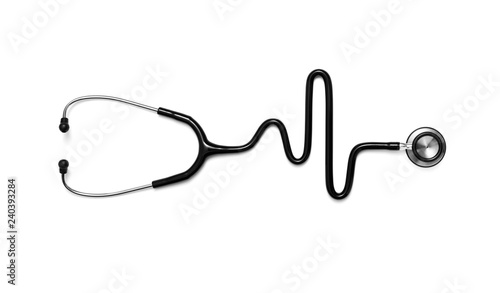 Fotografie, Obraz  Stethoscope in the shape of a Heart Beat on a EKG