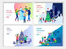Set Of Landing Page Template Or Greeting Card. Merry Christmas And Happy New Year. Characters Family With Present Decorating Christmas Tree On Interior Living Room, Makes Snowman In Urban Park