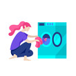 Everyday routine scenes and spend time together of young romantic couple. Pair of boy and girl. Vector people character. Editable outline stroke size. Colorful flat concept illustration.