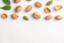 Organic Pistachio Nuts On Whit...