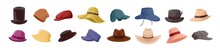 Collection Of Stylish Men S And Women S Headwear Of Various Types - Hats, Caps, Kepi Isolated On White Background. Bundle Of Fashion Accessories. Colorful Vector Illustration In Flat Cartoon Style.