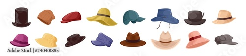 Foto Collection of stylish men s and women s headwear of various types - hats, caps, kepi isolated on white background