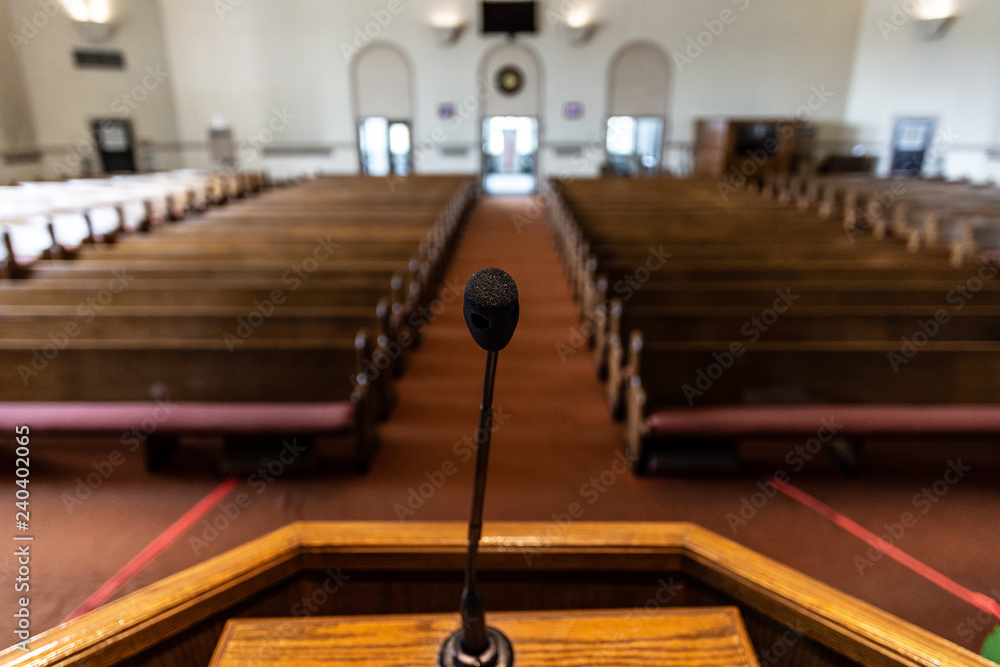 Fototapeta empty church sanctuary view from the pulpit and microphone