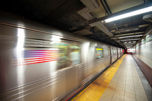 New York Subway Train In Transit In The Station