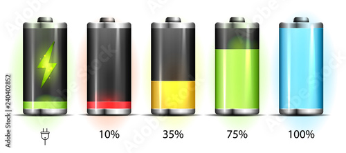Foto Realistic discharged and fully charged battery smartphone - vector infographic