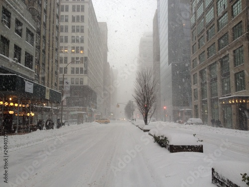 Photo Stands New York snow in the city
