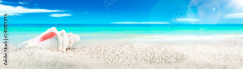 Obraz na plátně Seashell On White Sand Seashore With Tropical Water, Blue sky, White Clouds, And