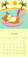 2019 June Calendar With Welsh Corgi Dog On Unicorn Rubber Ring On Ocean And Beach Background