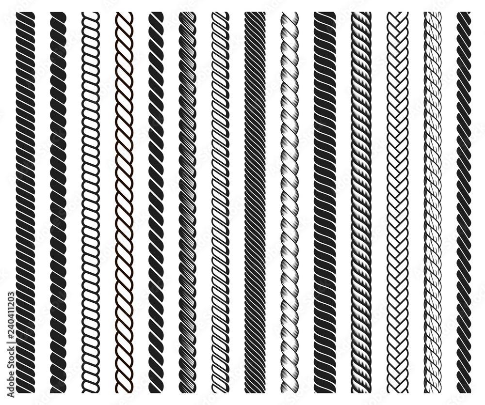 Fototapety, obrazy: Rope brushes frame, decorative black line set