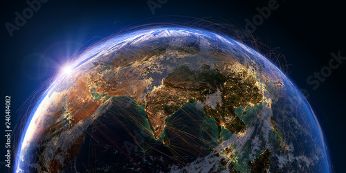 Cuadros en Lienzo Planet Earth and aviation routes. 3D rendering