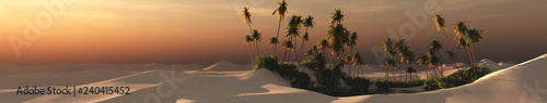 Fototapety, obrazy: Oasis in the sandy desert at sunset, palm trees above the water in the sand desert,