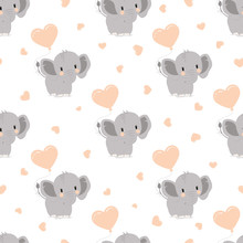 Pattern With Elephants And Hea...