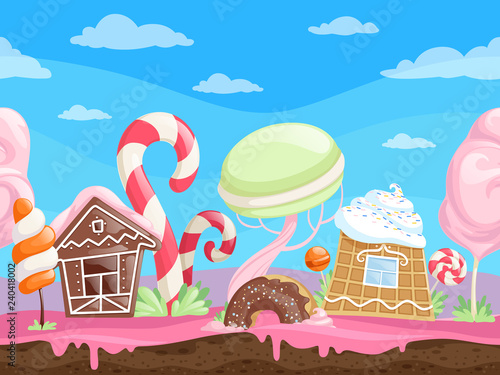 fototapeta na ścianę Game seamless sweet landscape. Fantasy delicious background desserts candy sugar caramel chocolate biscuits lollipop vector cartoon. Illustration of sweet world gui, house building and maracon candy