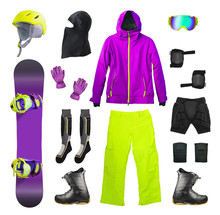 Snowboard, Membrane Clothes And Sport Accessories Isolated On White Background