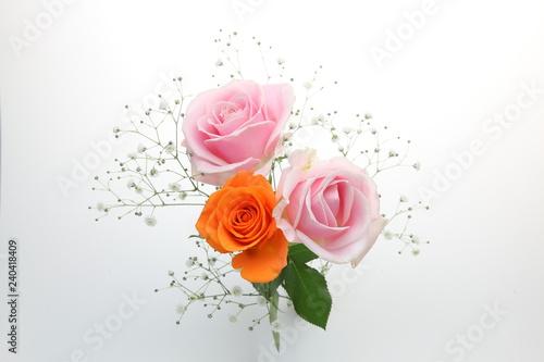 薔薇とカスミソウの花束 Fototapete
