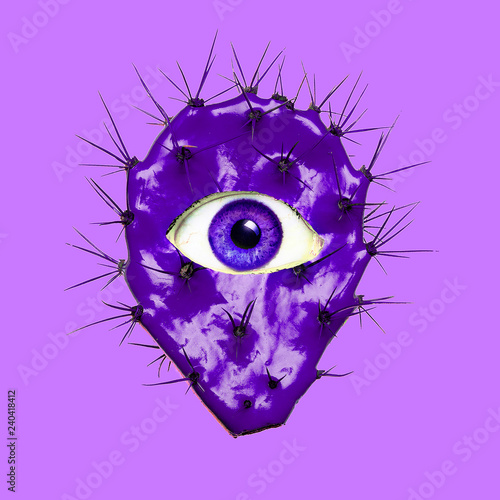 canvas print motiv - Porechenskaya : Contemporary art collage. Violet Cactus  with human eye. Minimal funny Art