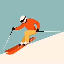 Skier In Helmet, Vector Illustration, Flat Style ,profile