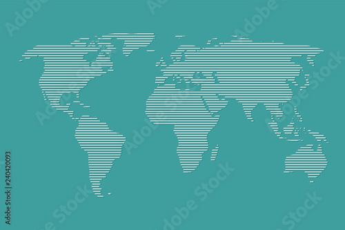 Türaufkleber Weltkarte World map vector using white straight lines on dark blue background illustration