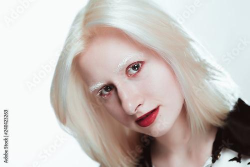Fotografia, Obraz  portrait of blonde albino girl in studio