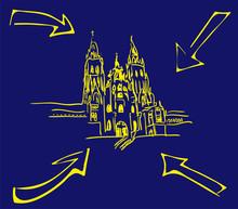 Cathedral Santiago De Compostela With Yellow Arrows