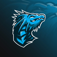 Dragon Mascot Vector Logo Design With Modern Illustration Concept Style For Badge, Emblem And Tshirt Printing. Head Dragon Illustration.