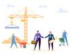 Construction Agreement Handshake Vector Illustration. Business Manager and Engineer have Building Partnership Contract, Crane Worker Background. Businessman Character Residential Project Deal Poster