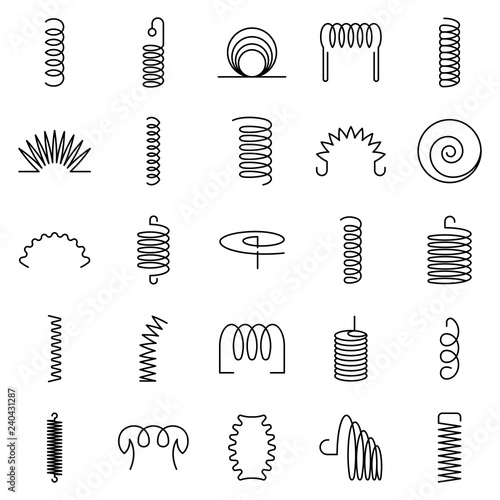 Obraz Coil icon set. Outline set of coil vector icons for web design isolated on white background - fototapety do salonu