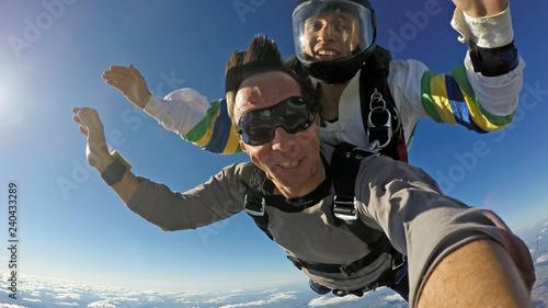 Sky dive tandem selfie