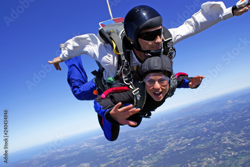 Skydiving tandem exhilaration