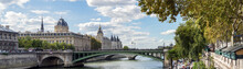 Panoramic Of The Tribunal De Commerce, The Conciergerie And Pont Notre Dame On The Ile De La Cite In Paris, France