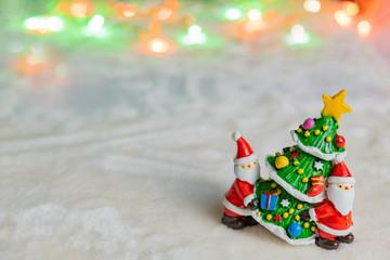クリスマスイメージ サンタクロース ツリー 玉ボケ