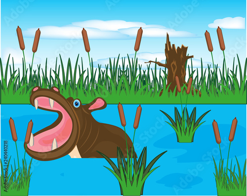 Stampa su Tela African animal hippopotamus sails in river.Vector illustration