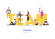 Teamwork concept. team,together,co working space. Abstract graphic design. Flat cartoon miniature illustration vector graphic on white background.