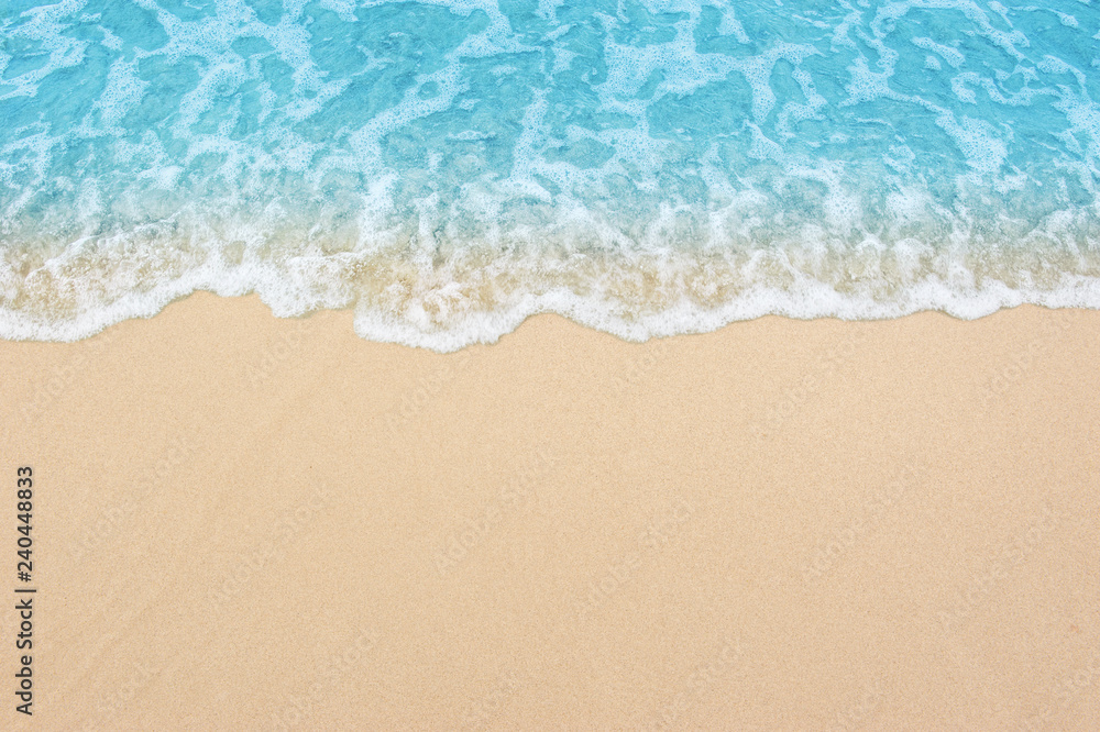 Fototapety, obrazy: beautiful sandy beach and soft blue ocean wave